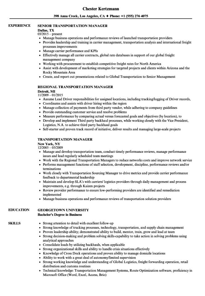 Transportation Resume Examples Resume Sample
