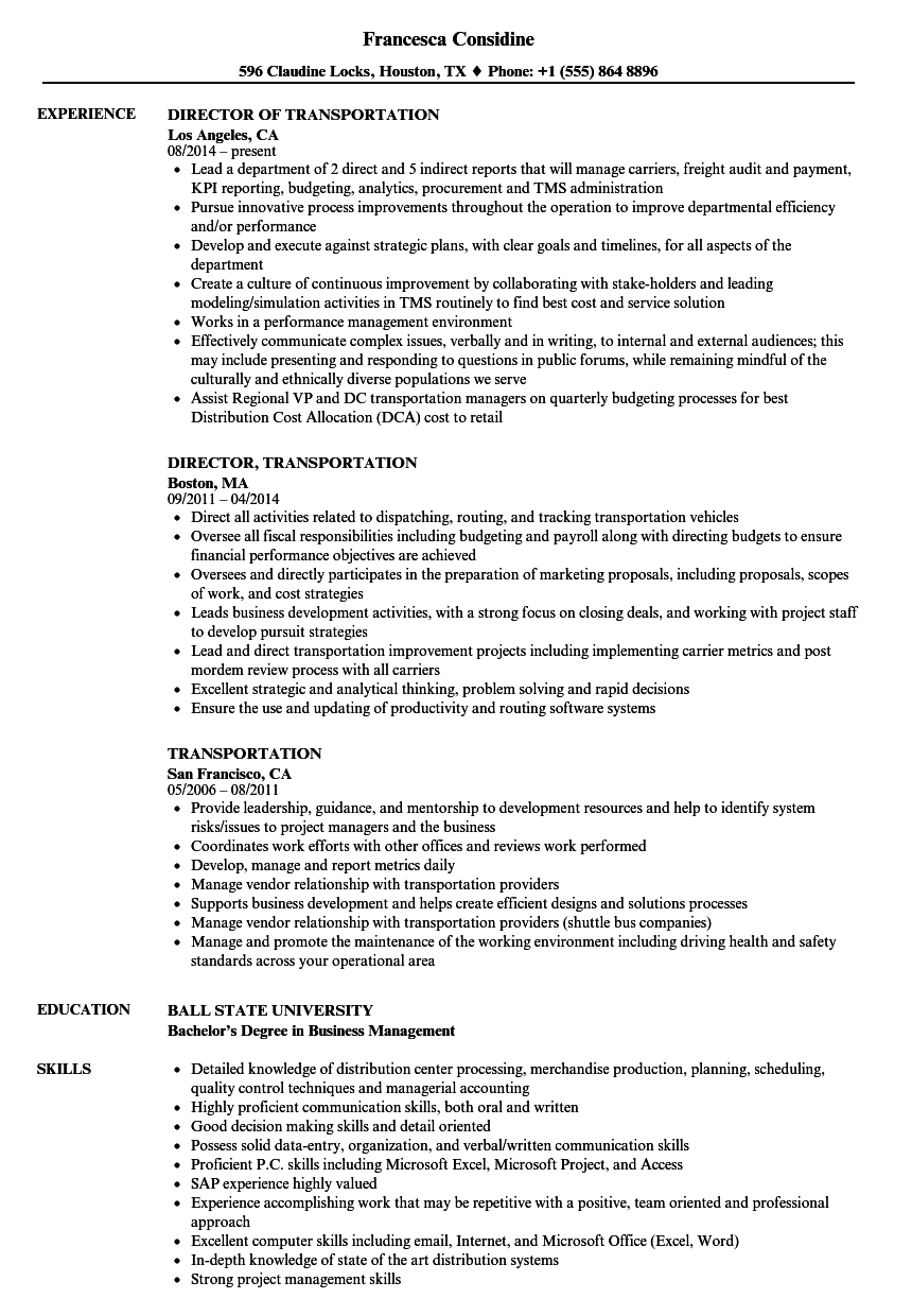 Transportation Resume Samples Velvet Jobs