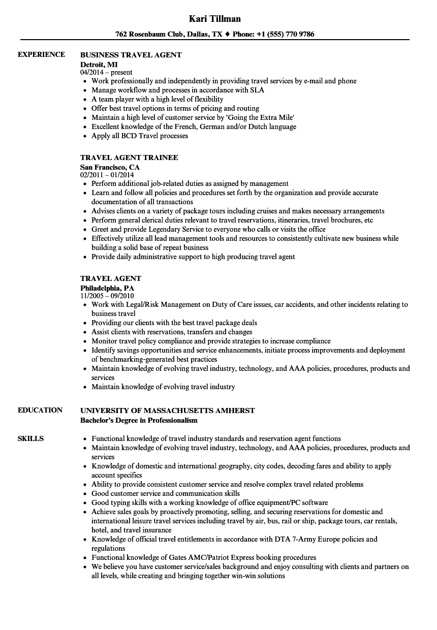 corporate travel agent resume example