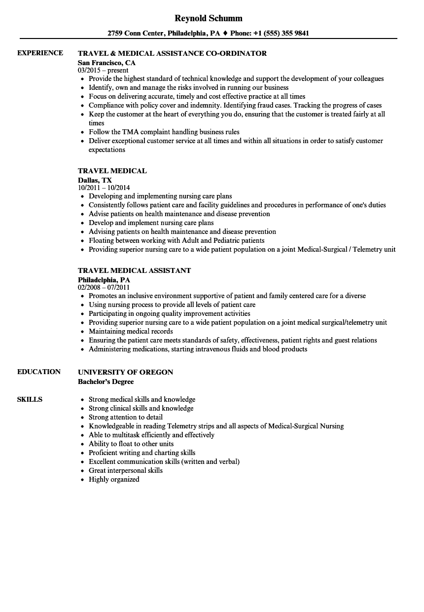 Download Travel Medical Resume Sample As Image File