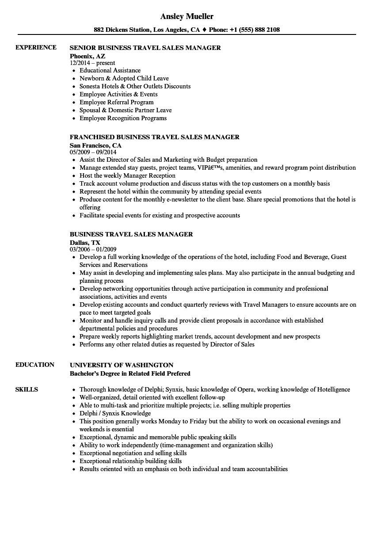 hotel sales manager resume sample