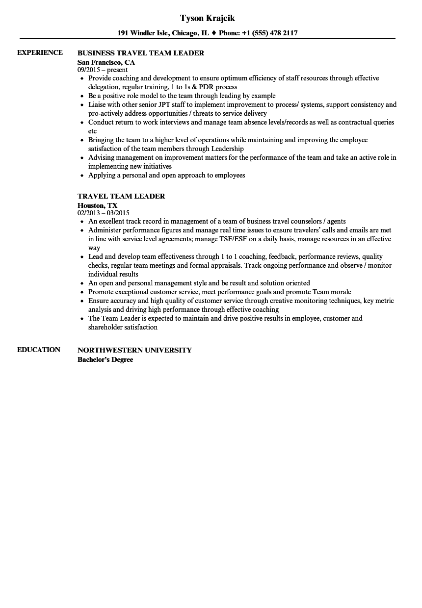 Travel Team Leader Resume Samples Velvet Jobs