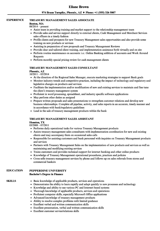 treasury sales resume sample