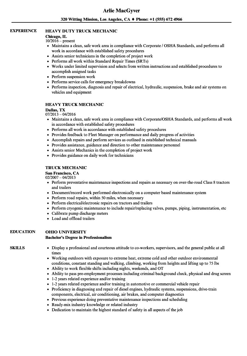 Truck Mechanic Resume Samples Velvet Jobs
