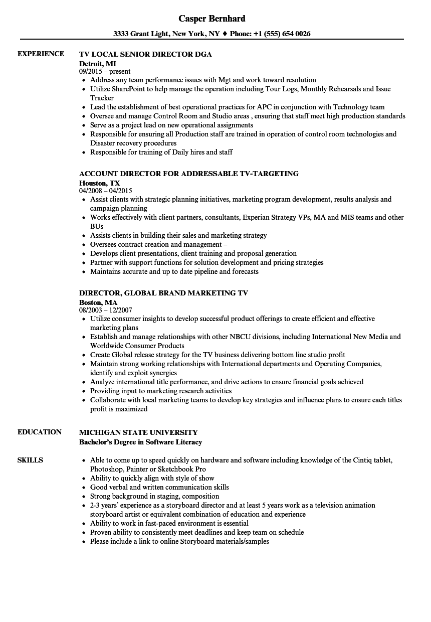 Tv Director Resume Samples Velvet Jobs