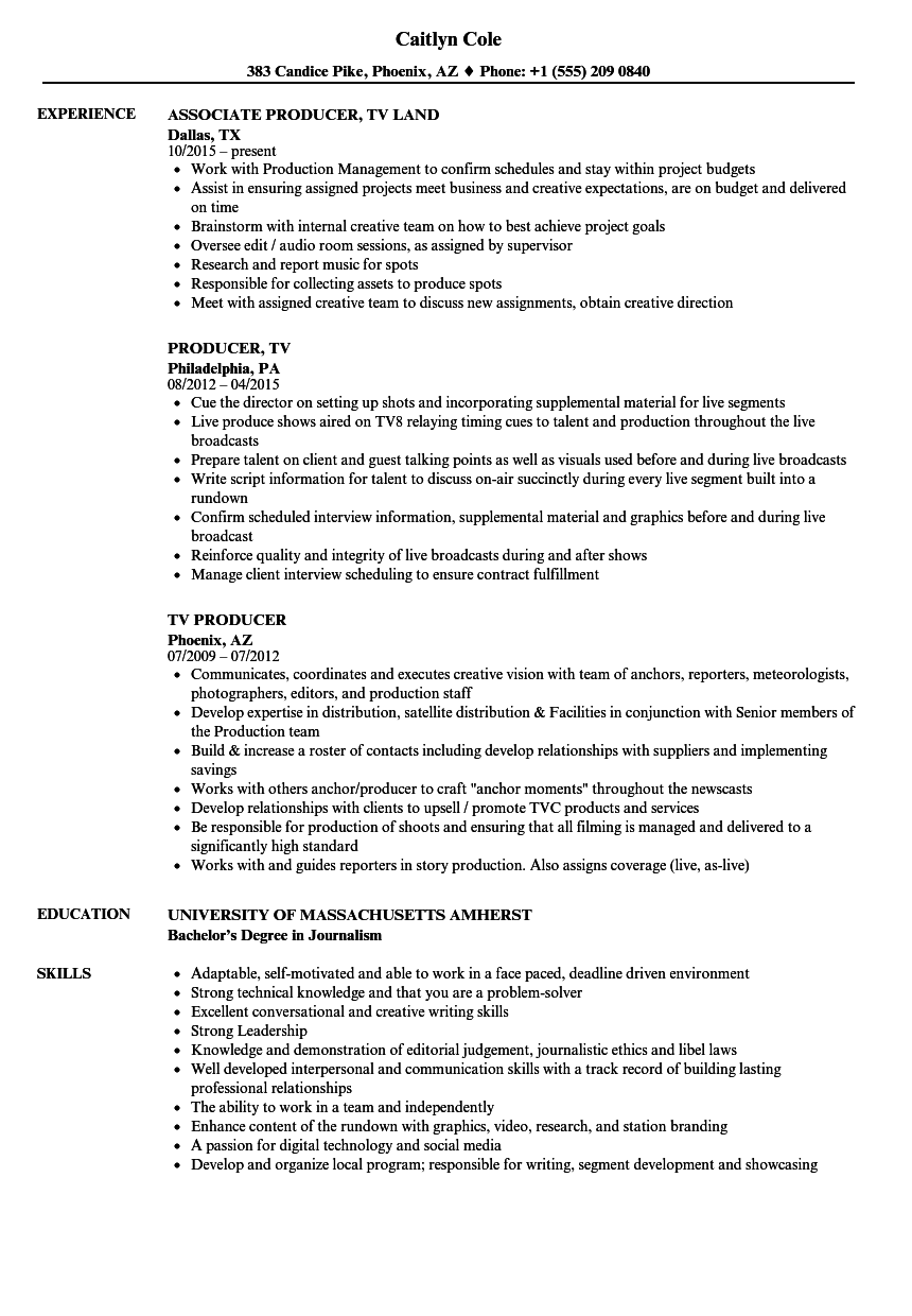 TV Producer Resume Samples Velvet Jobs