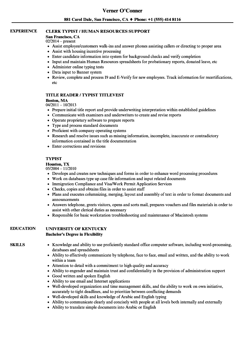 Typist Resume Samples Velvet Jobs