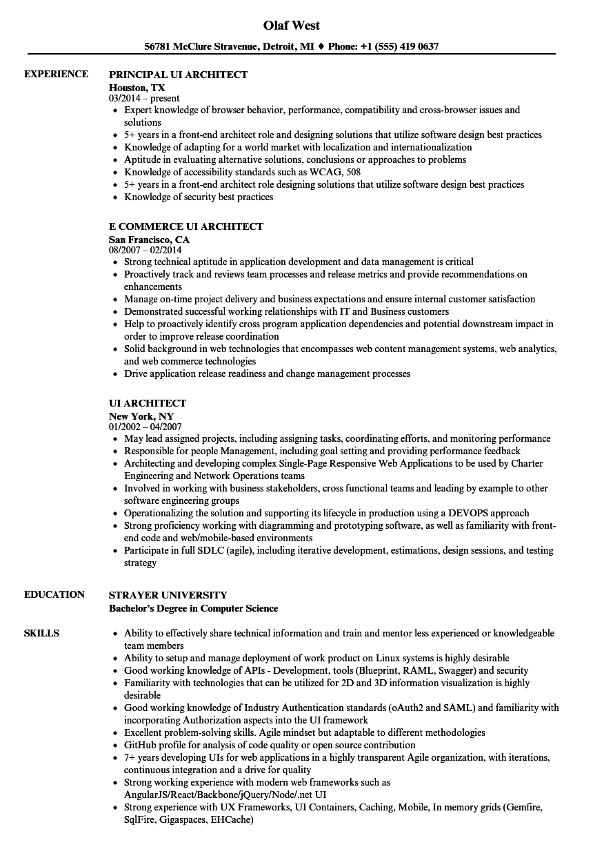 sample web architect resume