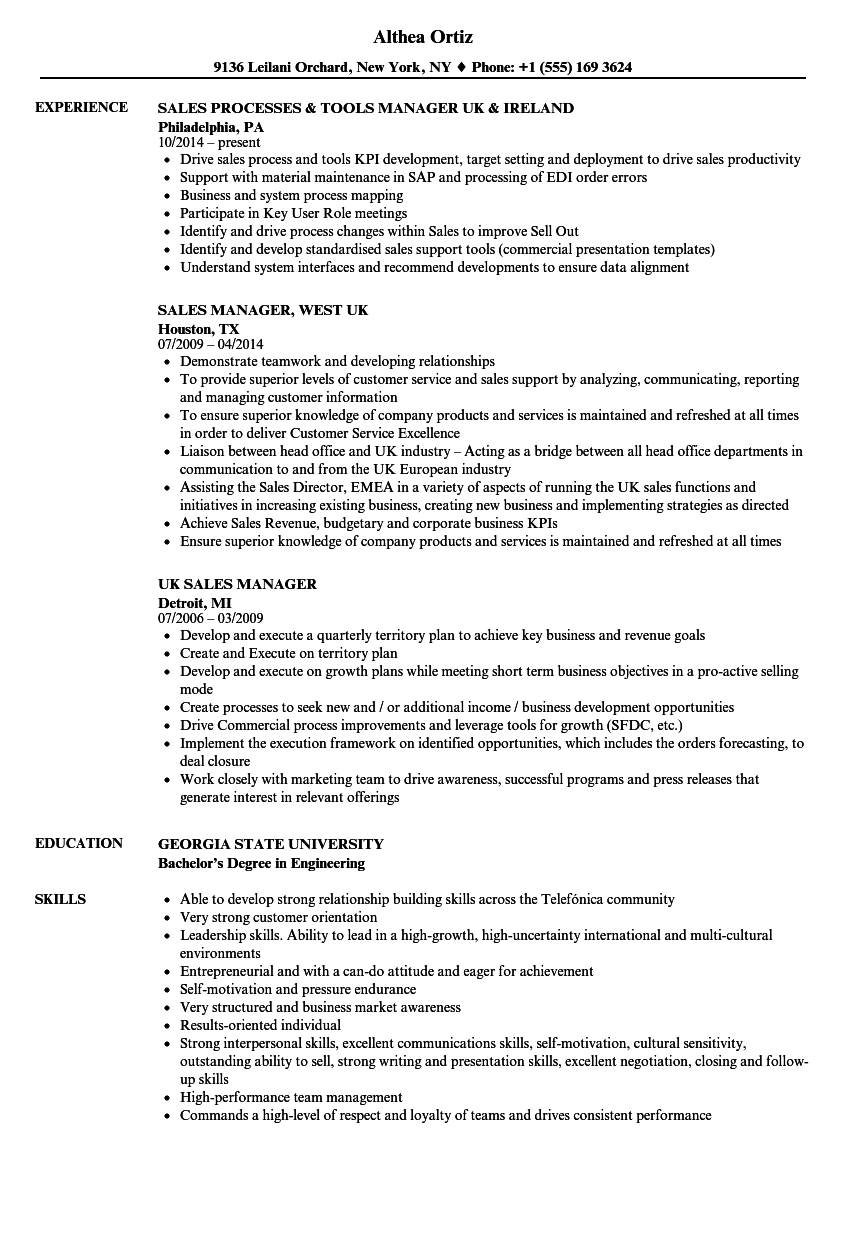 country sales manager resume sample