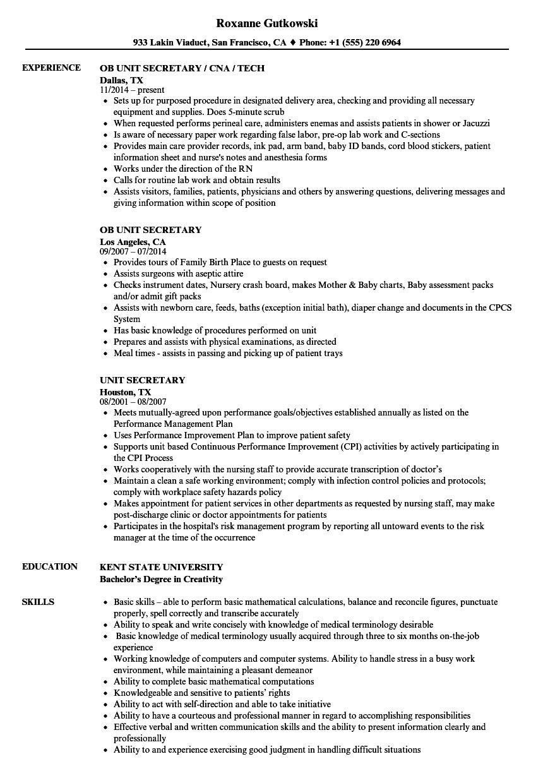 Unit Secretary Resume Samples Velvet Jobs Rh Velvetjobs Com Unit Secretary  Job Description For Resume