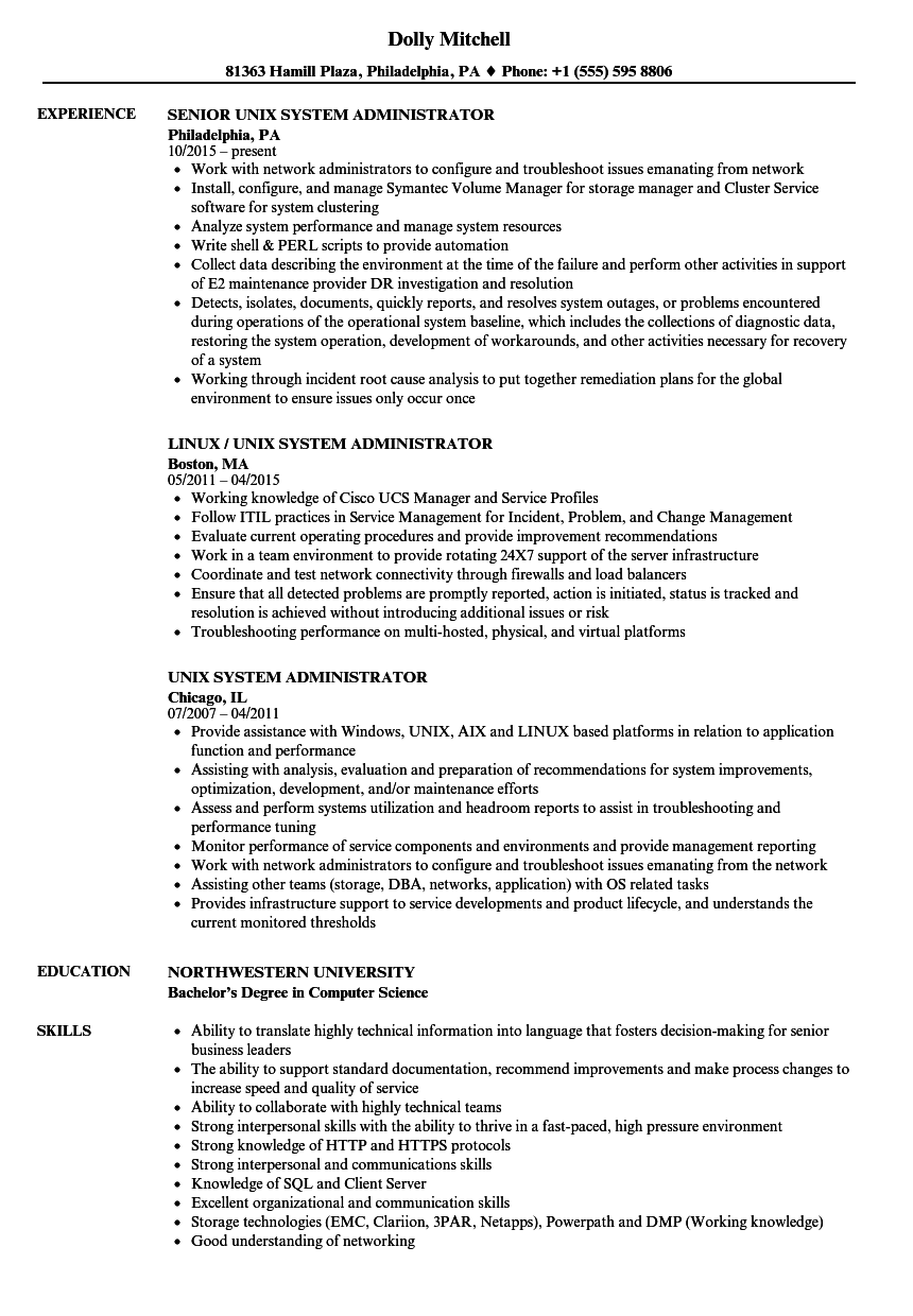 network system administrator resume sample