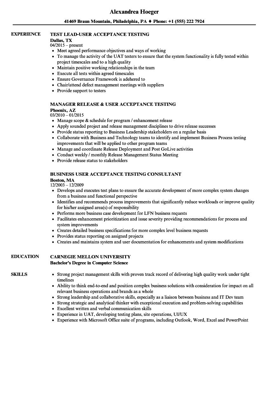 testing analyst resume