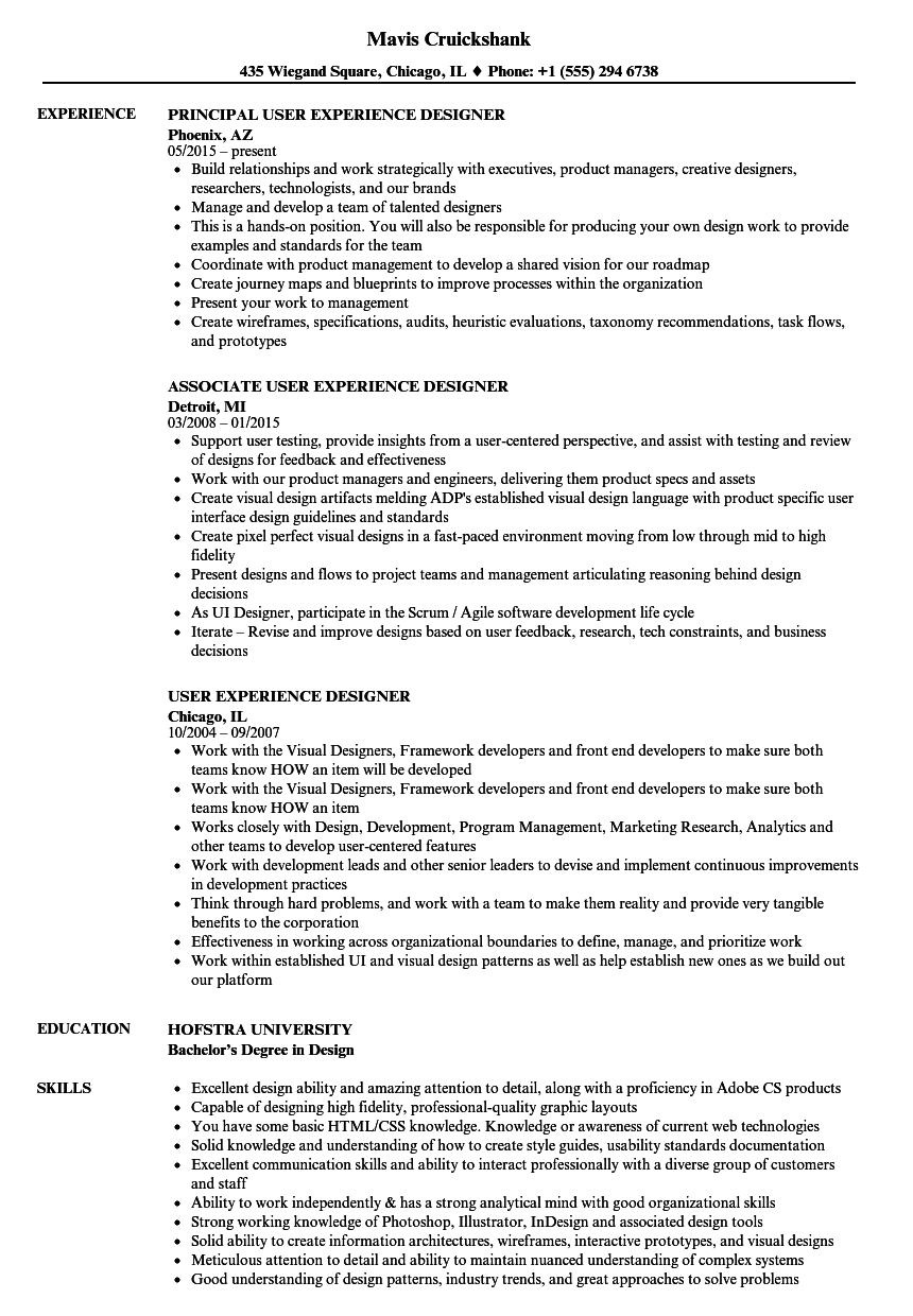 sample job resume with work experience