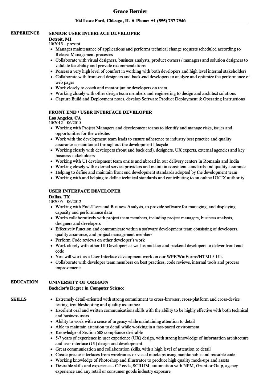 sample net ui resume