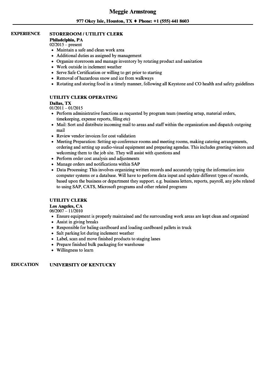 Utility Clerk Resume Samples Velvet Jobs