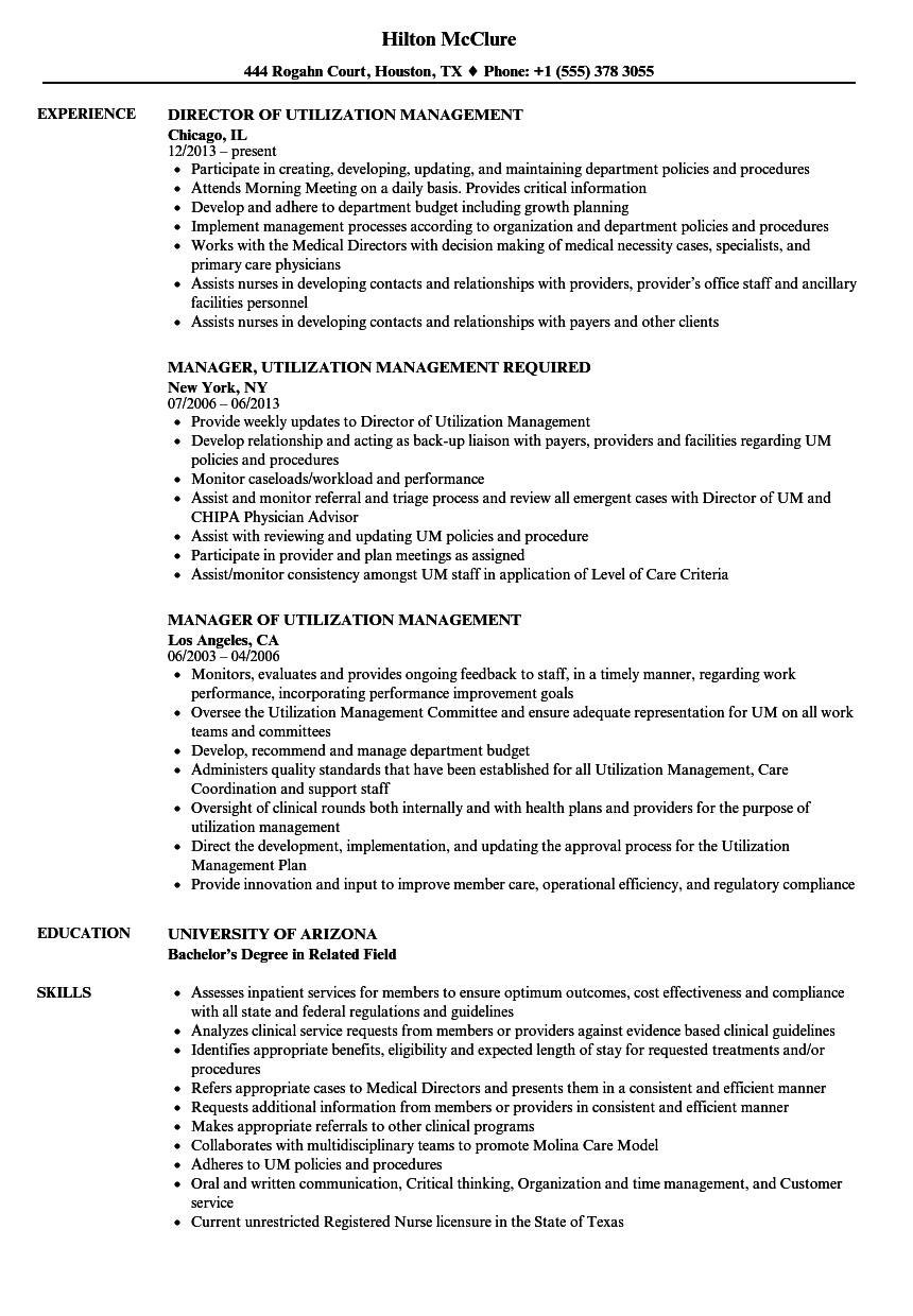 Utilization Management Resume Samples  Velvet Jobs