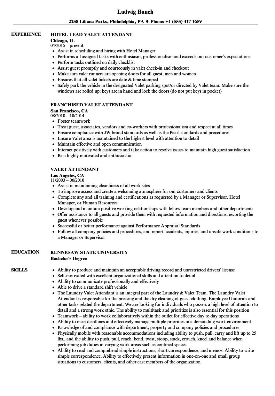 Valet Attendant Resume Samples  Velvet Jobs