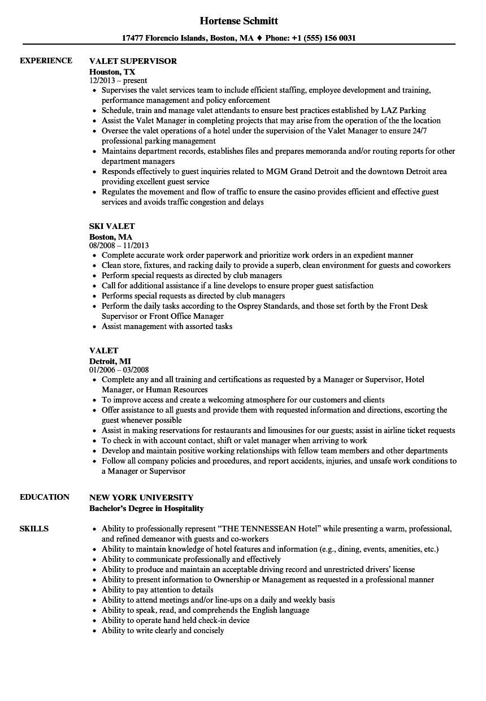 Valet Resume Samples  Velvet Jobs