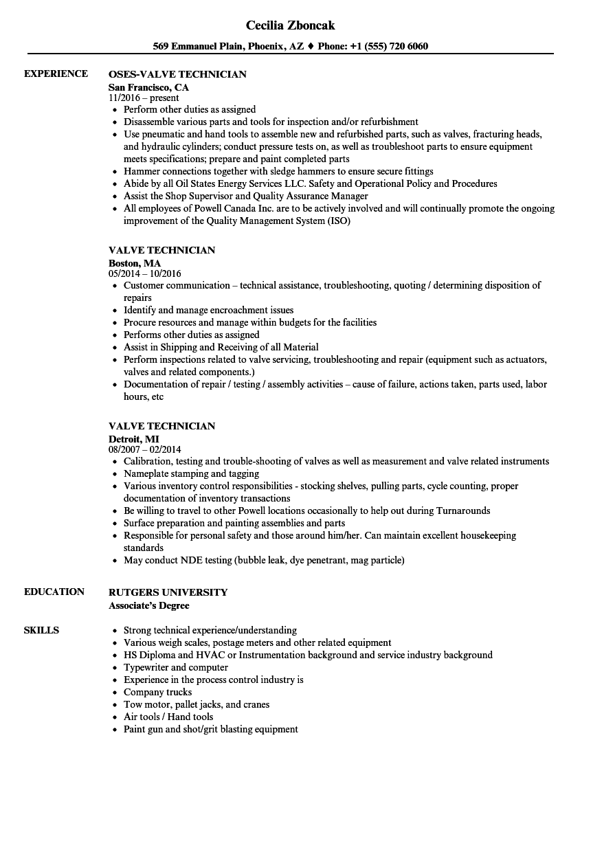 Valve Technician Resume Samples Velvet Jobs