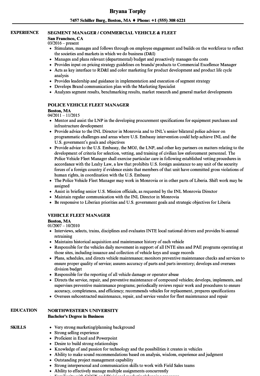 Fleet Manager Resume  Talktomartyb