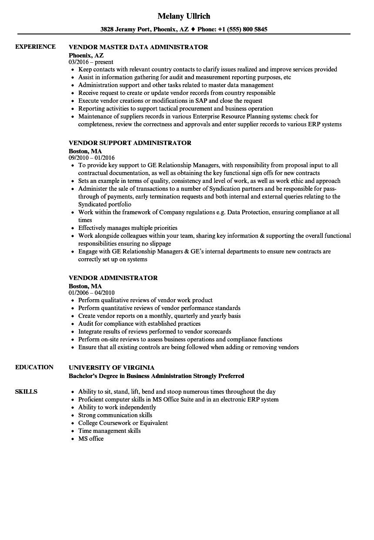 Vendor Administrator Resume Samples  Velvet Jobs