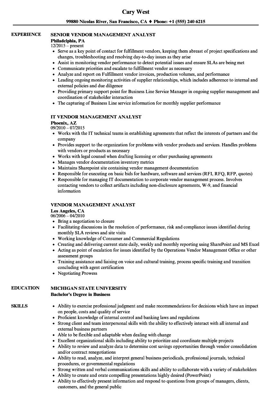 supplier management resume sample