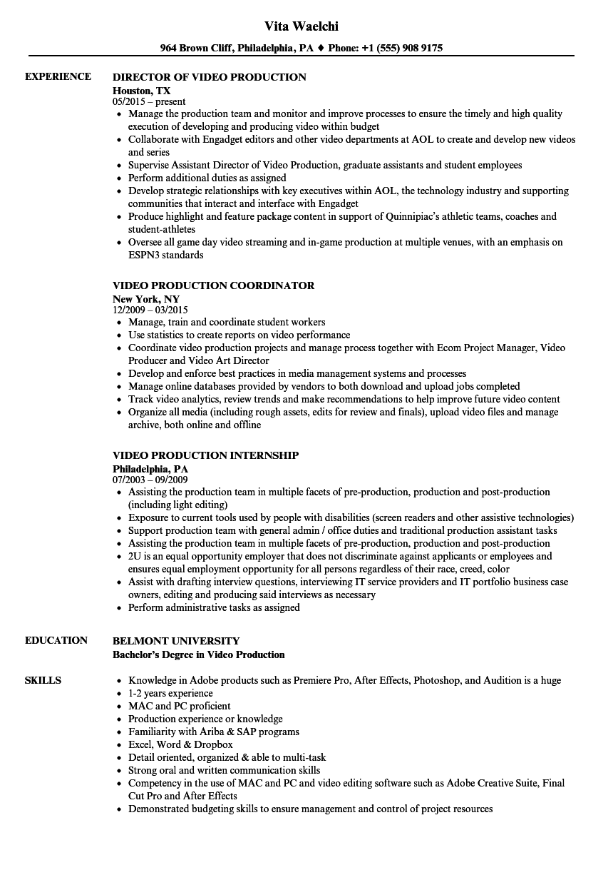 Video Production Resume Samples Velvet Jobs