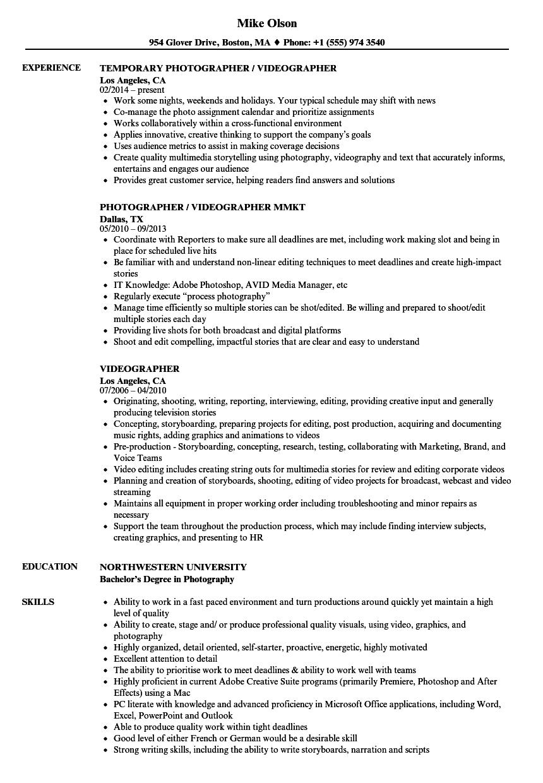 free videographer resume template