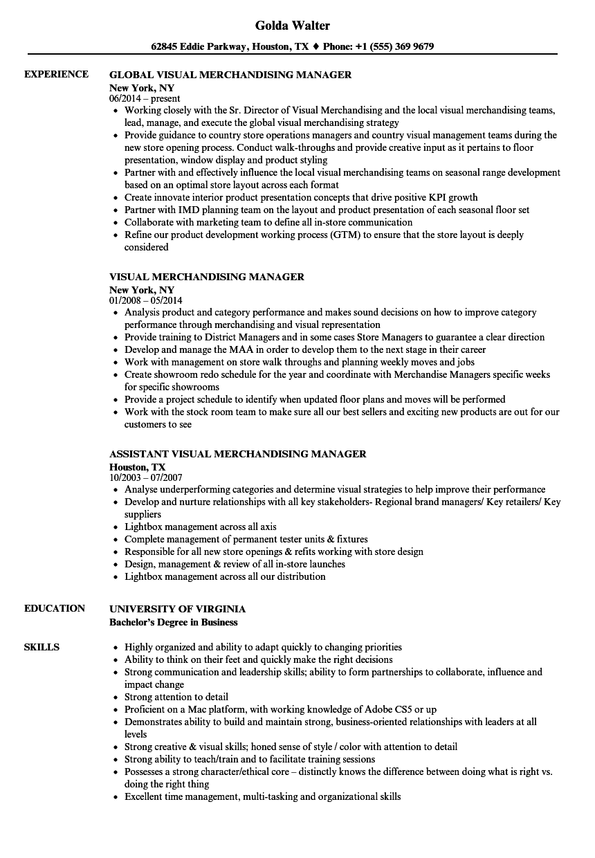 sample resume for visual merchandising manager