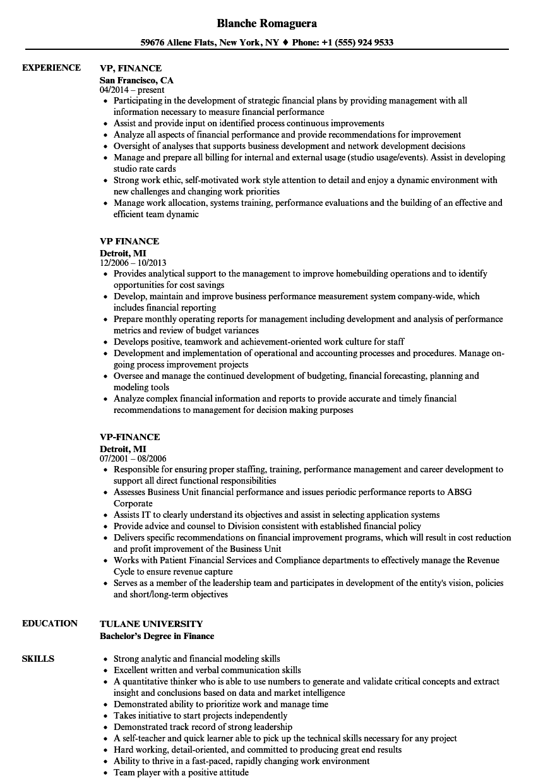 VP Finance Resume Samples  Velvet Jobs