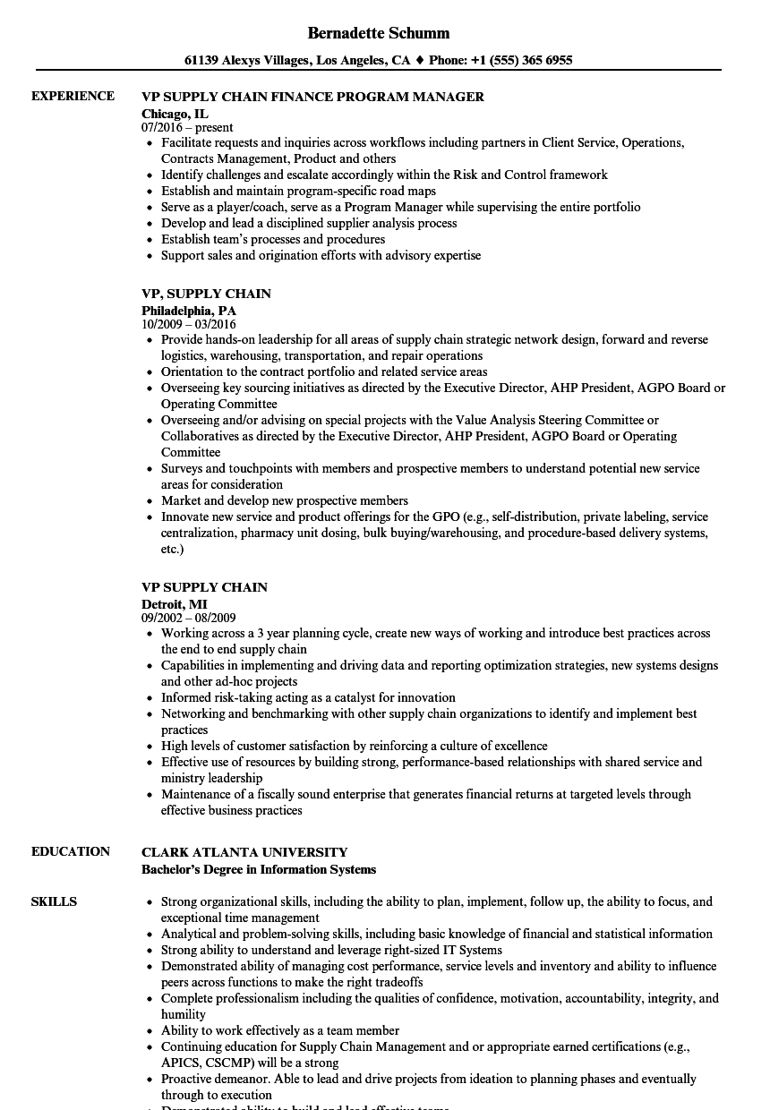 vp supply chain resume sample