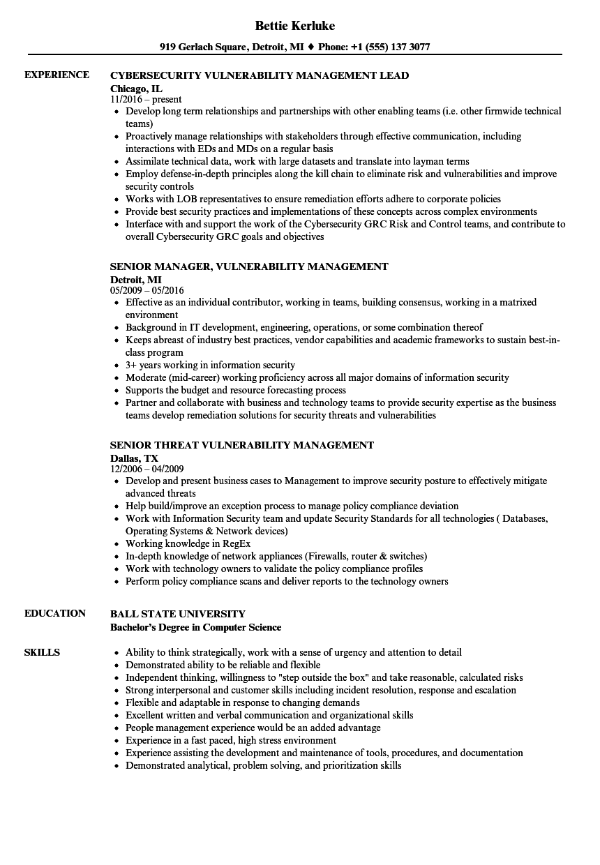 Vulnerability Management Resume Samples Velvet Jobs