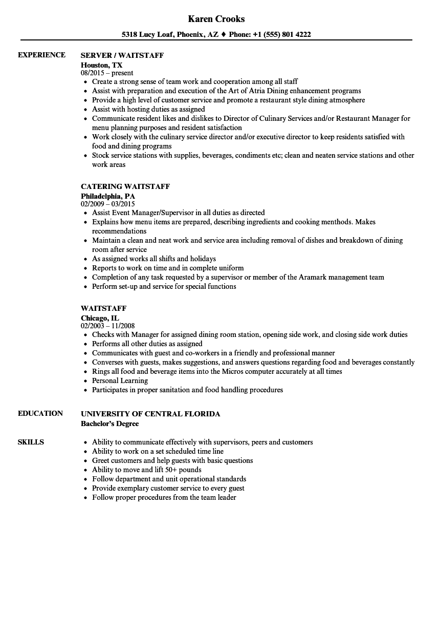 waiting resume samples