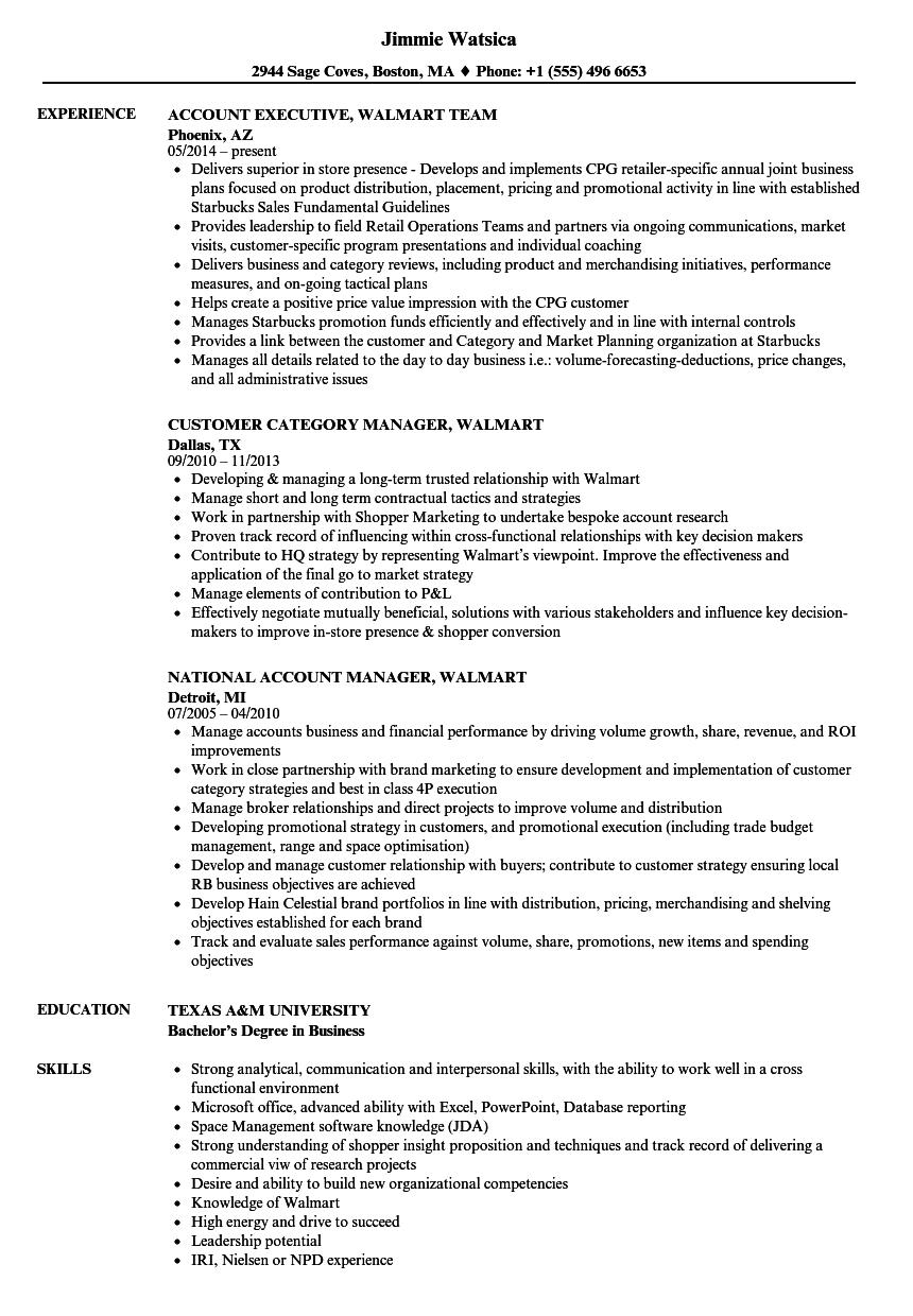 Download Walmart Resume Sample As Image File