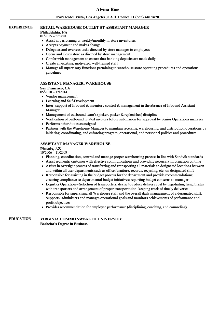 Warehouse Assistant Manager Cover Letter
