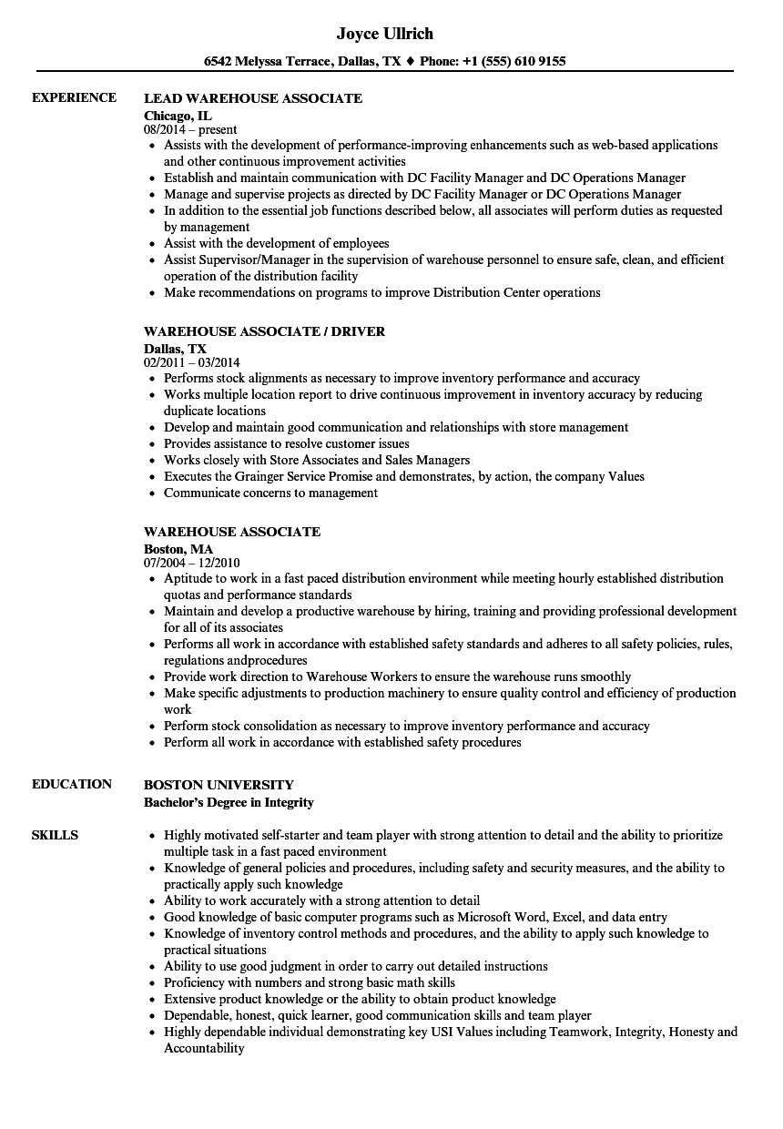 resume sample for a shipping clerk working in a warehouse
