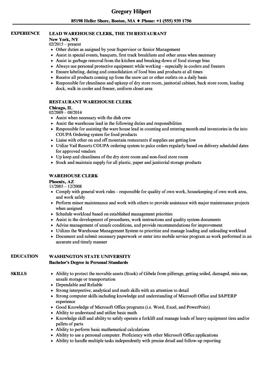 resume sample warehouse clerk