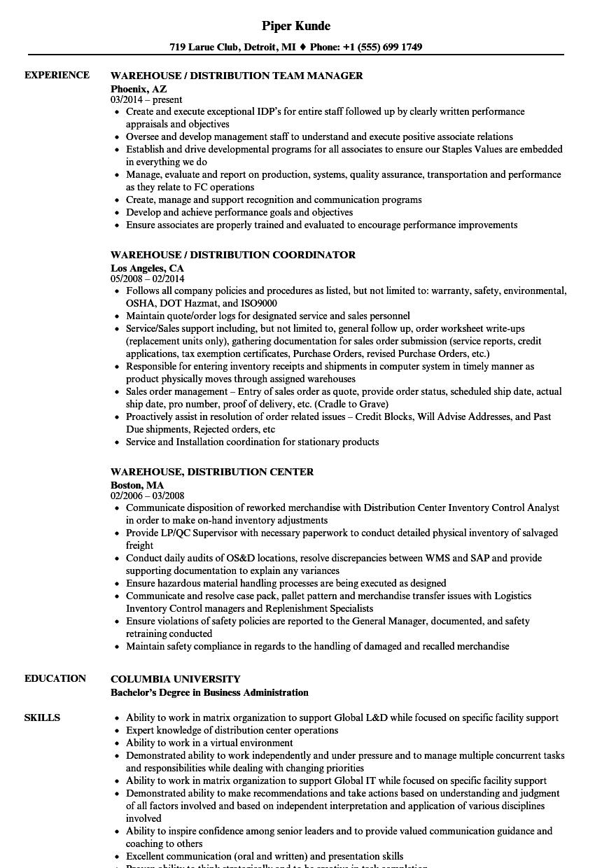 warehouse distribution specialist resume sample