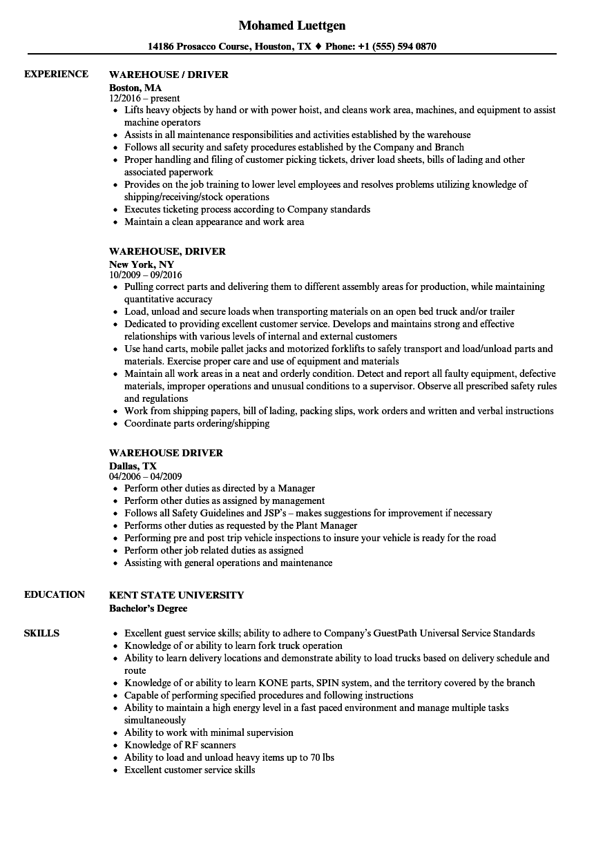 Warehouse Driver Resume Samples Velvet Jobs