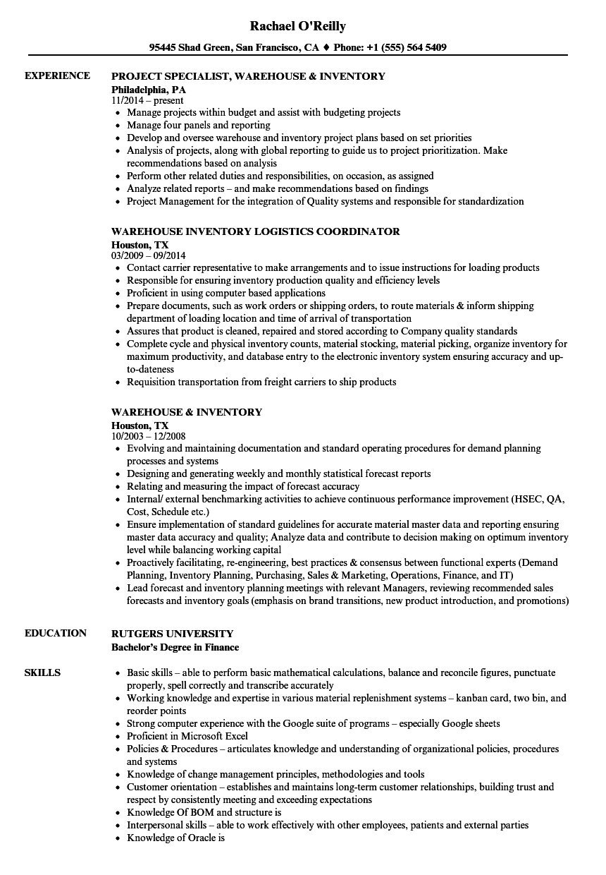 inventory logistics analyst sample resume