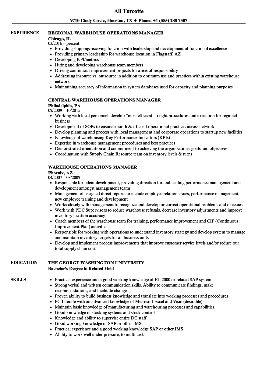 Warehouse Operations Manager Resume Samples Velvet Jobs