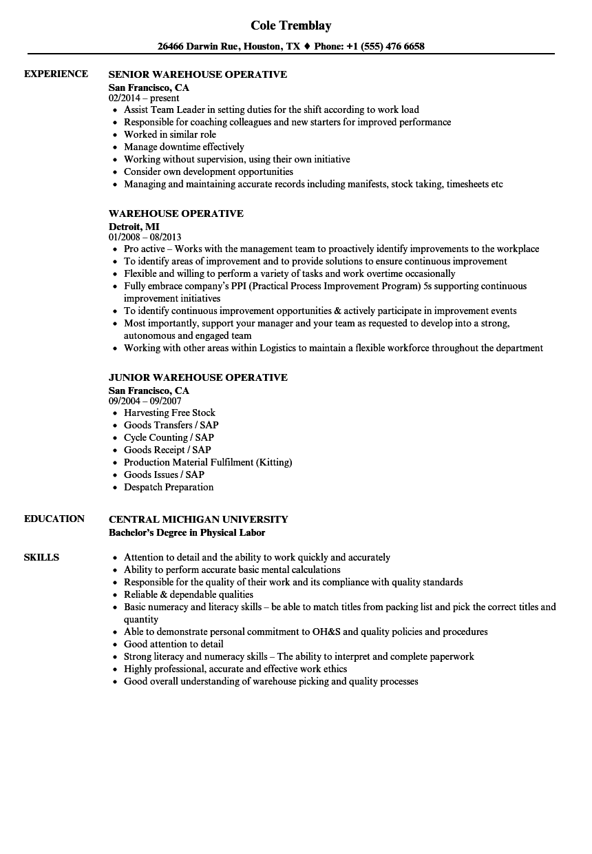 warehouse resume skills examples
