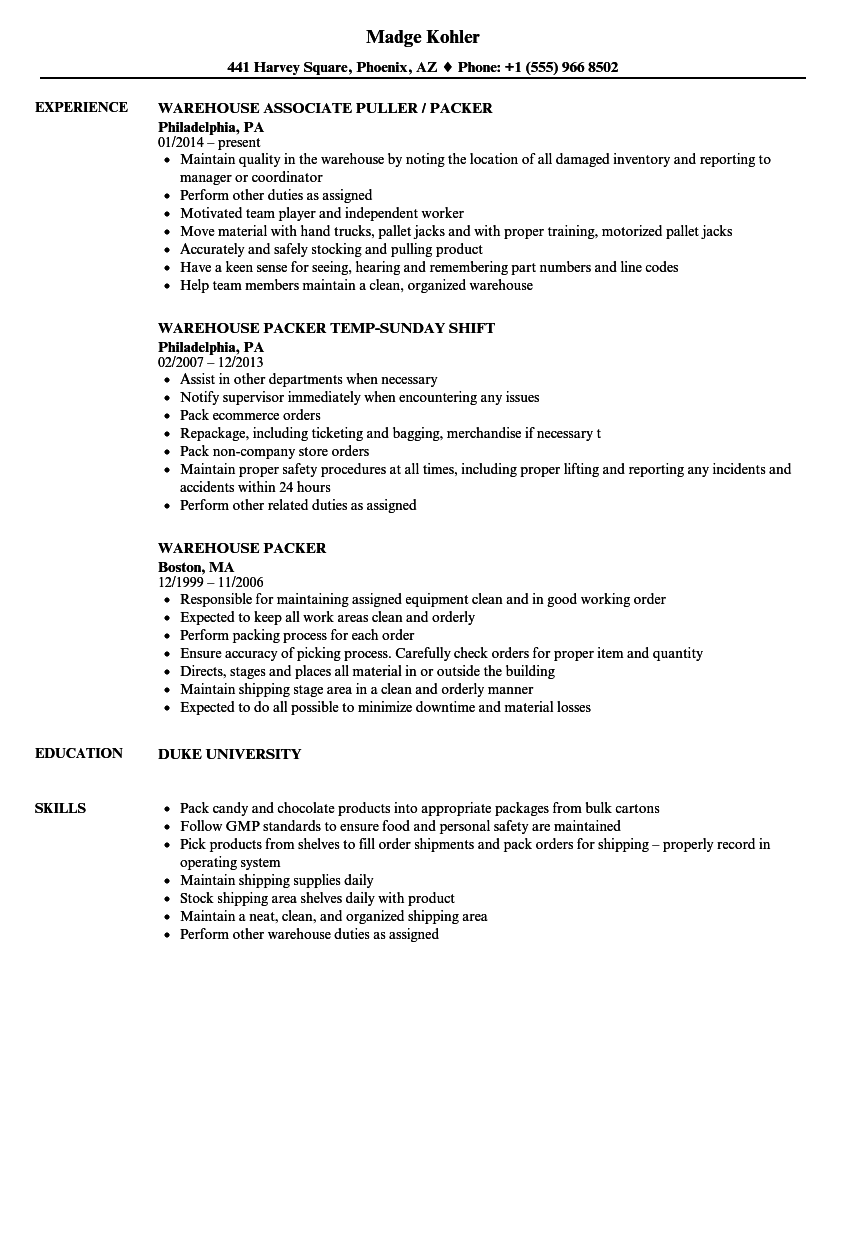 resume examples for process assistant warehouse amazon
