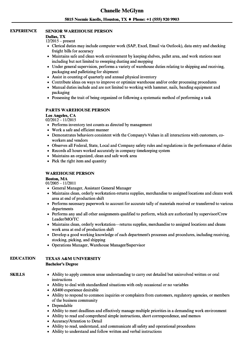 Warehouse Person Resume Samples Velvet Jobs