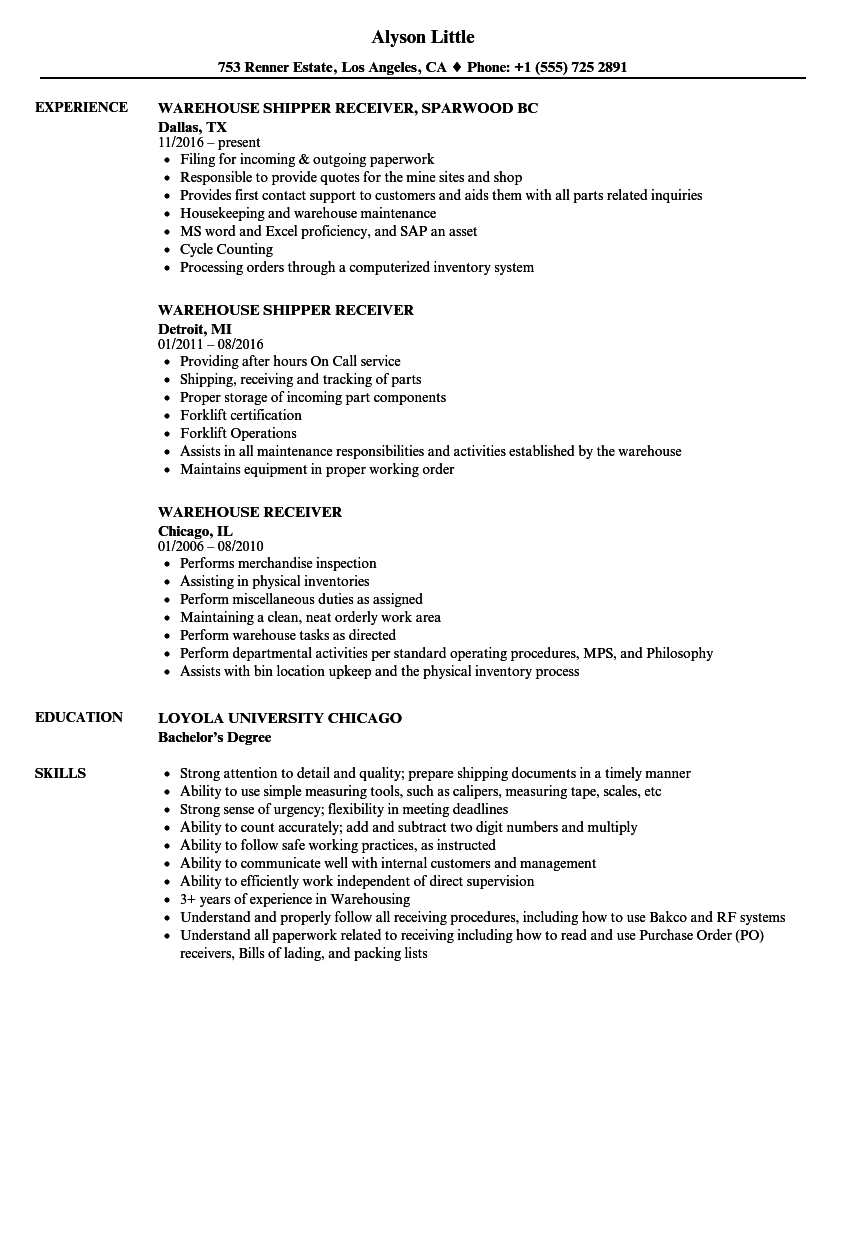 Warehouse Receiver Resume Samples Velvet Jobs