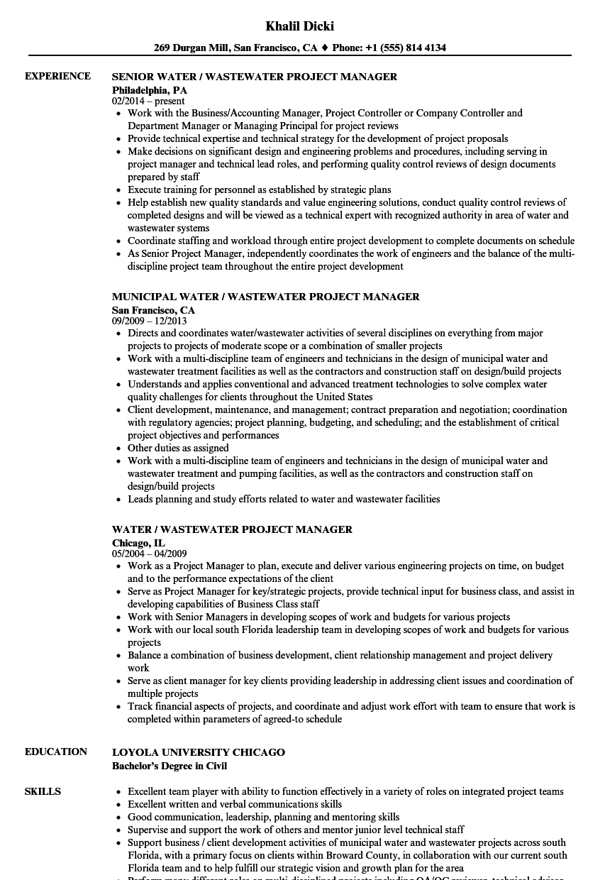 Water Wastewater Project Manager Resume Samples Velvet