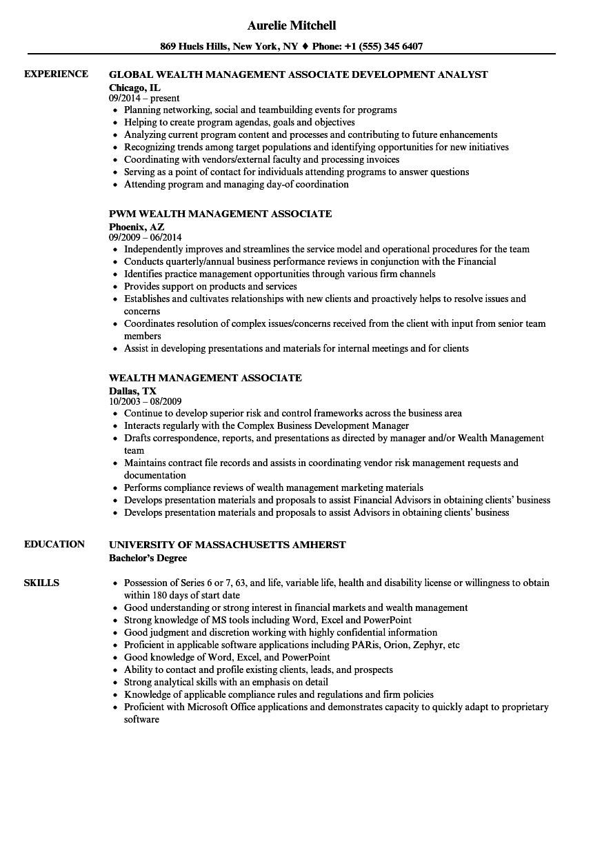 Wealth Management Associate Resume Samples Velvet Jobs