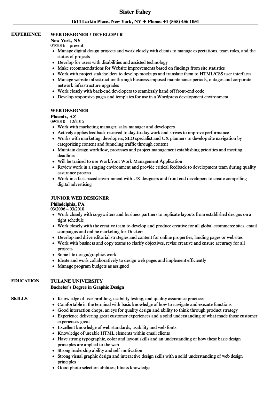 sample resume with ciw web development associate