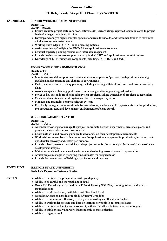 Weblogic Administrator Resume Samples  Velvet Jobs