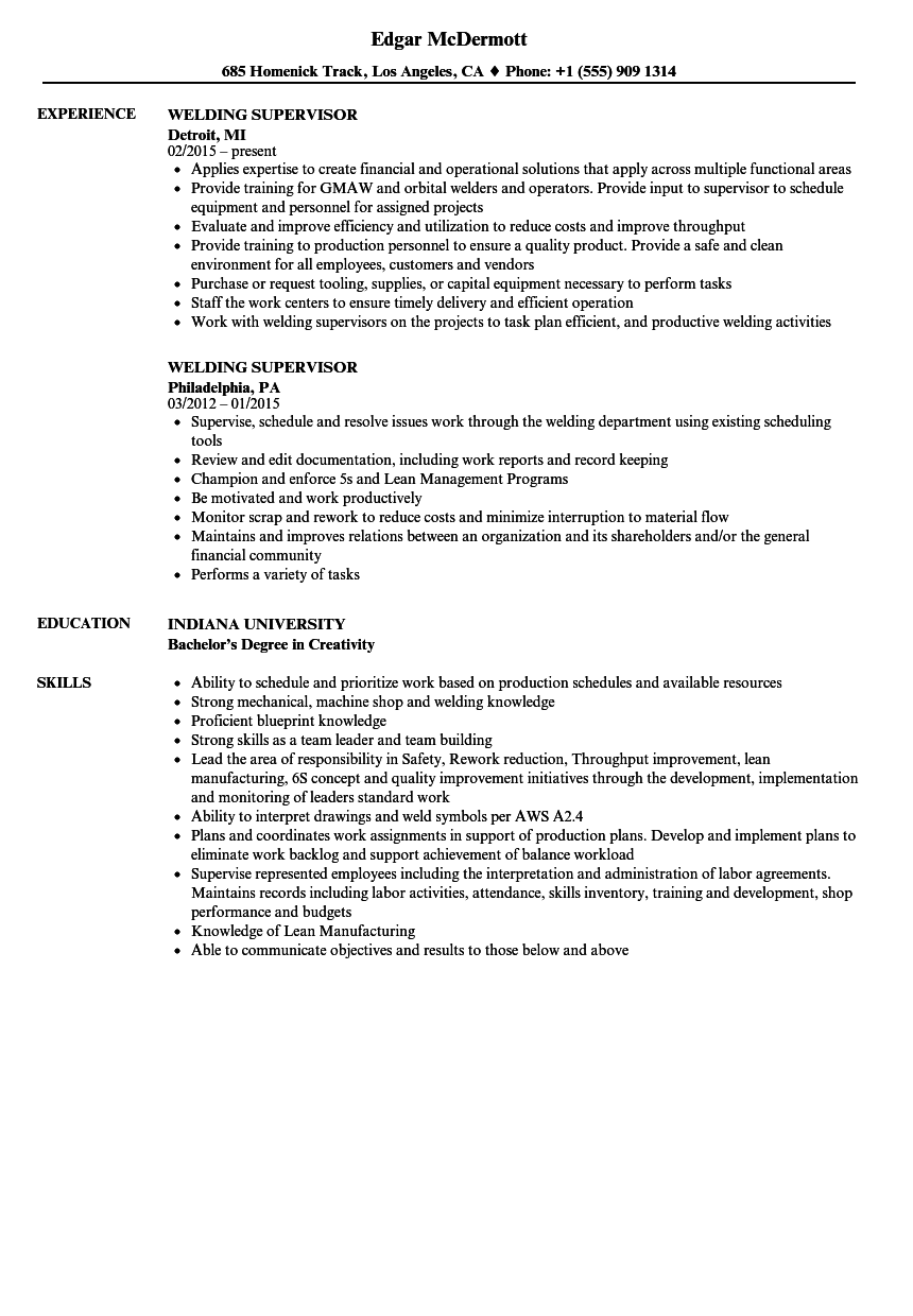 Welding Supervisor Resume Samples  Velvet Jobs